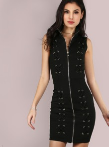 Double Cross Up Zip Dress BLACK