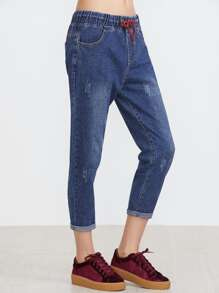 Dark Blue Bleach Drawstring Waist Cuffed Jeans