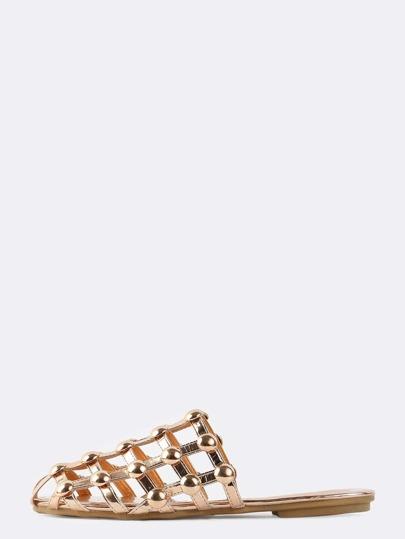 Metallic Beaded Net Sandals ROSE GOLD