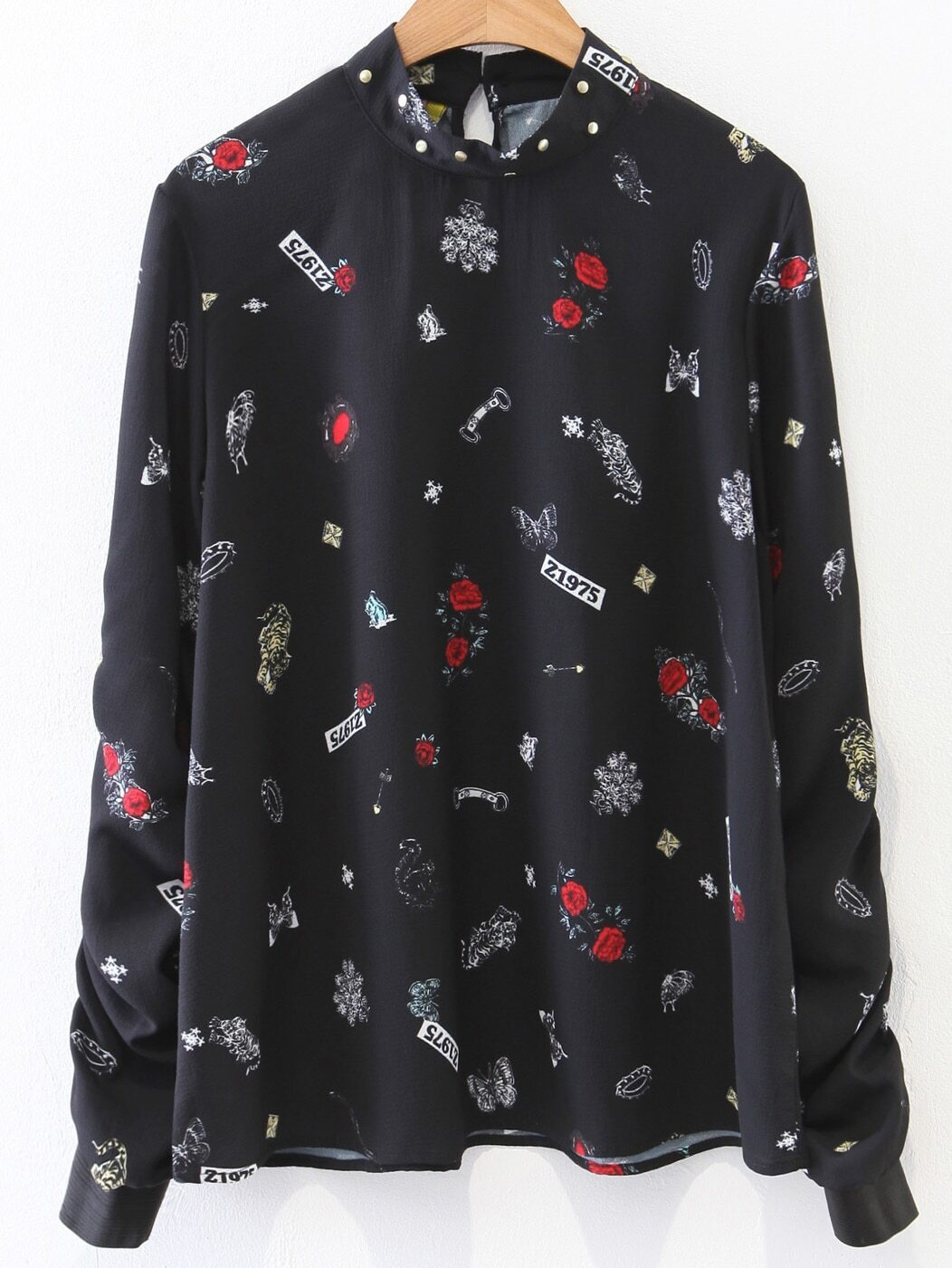 Фото Black Printed Studded Detail Blouse. Купить с доставкой
