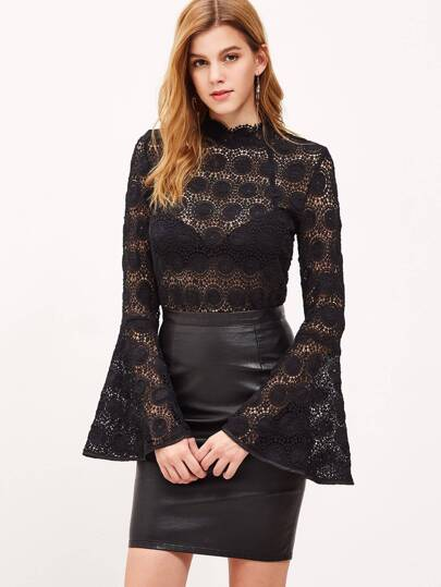 Black Keyhole Back Bell Sleeve Hollow Out Circle Crochet Top