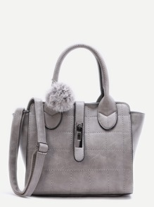 Grey Quilted PU Pom Pom Winged Tote Bag with Strap