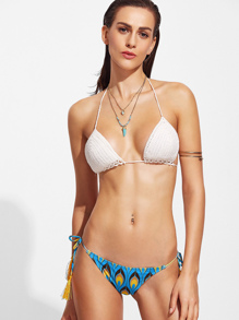 Printed Crochet Mix & Match Bikini Set With Tassel Tie