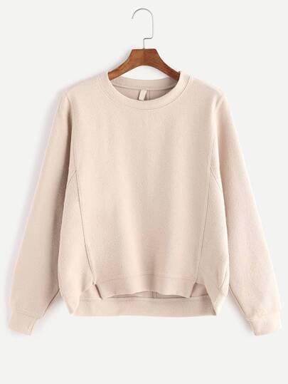 Apricot Long Sleeve High Low Sweatshirt