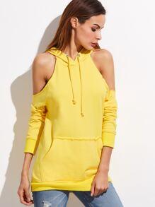 Sweat-shirt à l'épaules fendues avec poche devant -jaune