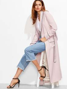 Pink Contrast Piping Shawl Collar Pocket Front Wrap Coat