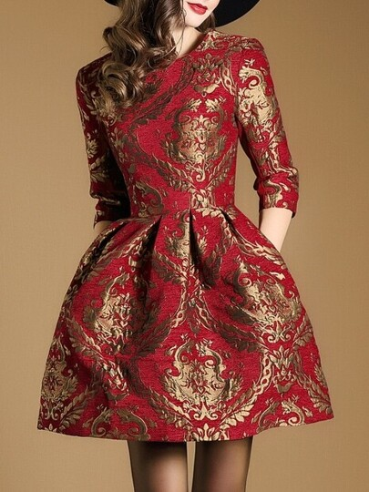 Red Jacquard Pockets A-Line Dress