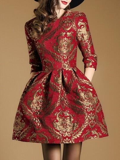 Red Jacquard Pockets A-Line Dress