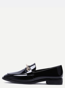 Black Metallic Embellished Almond Toe Loafer Flats