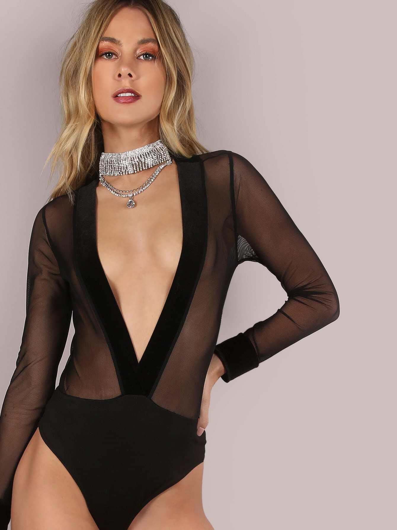 Фото Plunging Velvet V Mesh Bodysuit. Купить с доставкой
