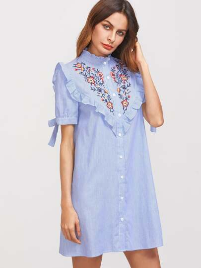 Ruffle Trim Tie Sleeve Embroidered Striped Shirt Dress
