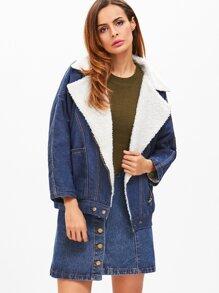 Dark Blue Oblique Zipper Sherpa Lined Denim Jacket
