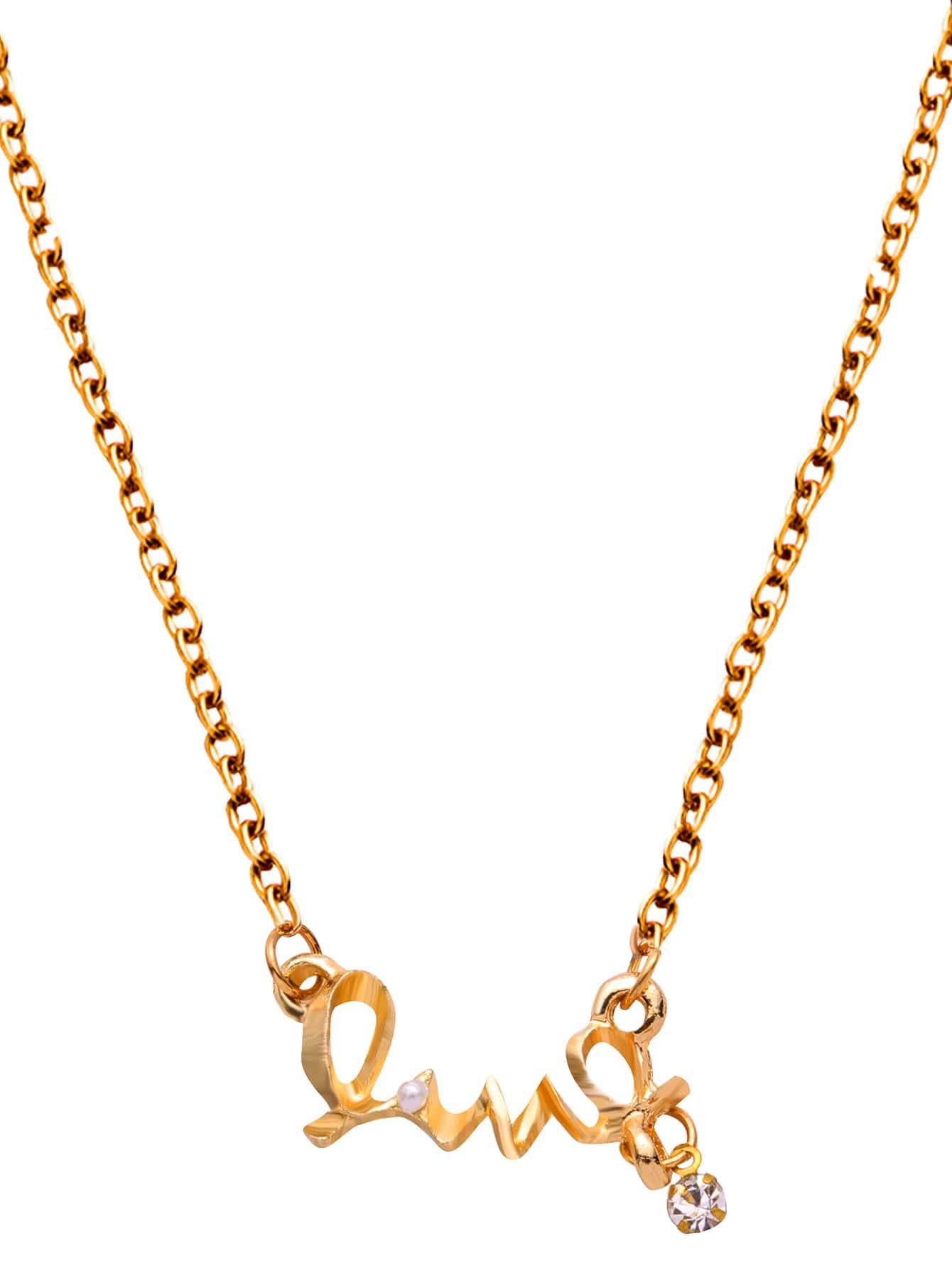 Фото Gold Letter Shaped Pendant Necklace. Купить с доставкой