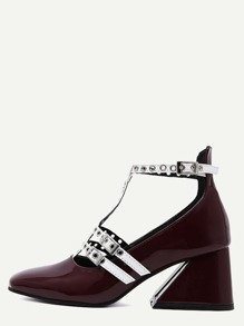 Burgundy Patent Leather Square Toe T Strap Pumps