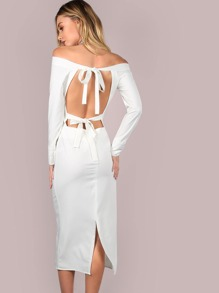 Backless Tie Off the Shoulder Dress IVORY