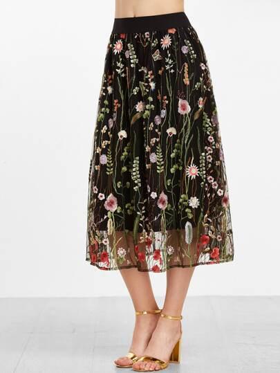 Jupe brodé floral de maille de taille moyenne -noir