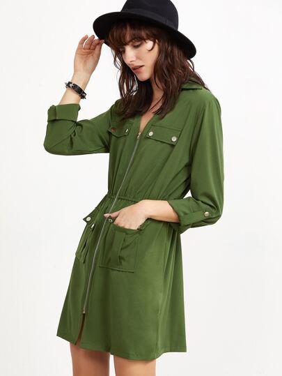 Army Green Roll Tab Sleeve Pockets Zipper Dress