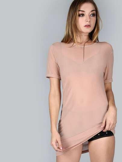 فستان تي شيرت جنسي نسوي جوفاء -وردية