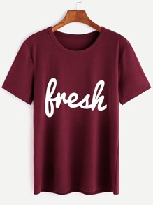 T-shirt imprimé lettre -bordeaux rouge