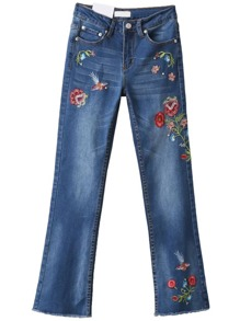 Blue Floral Embroidery Raw Hem Jeans