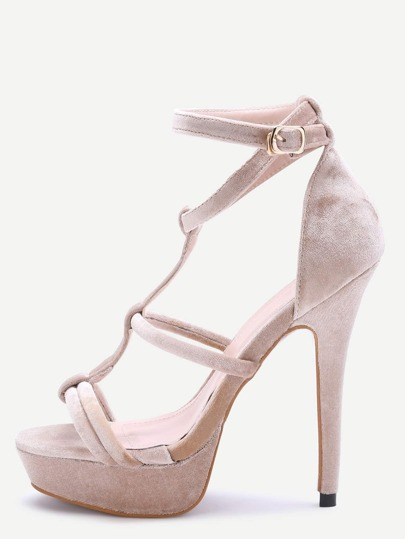 Apricot Open Toe Strappy Platform Heeled Sandals