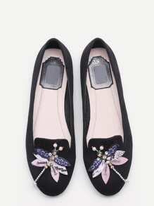 Chaussures flatform strass et perles libellule embelli -noir