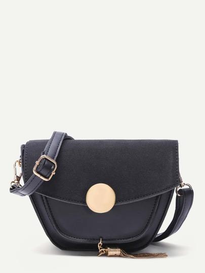Black PU and Suede Tassel Trim  Flap Crossbody Bag