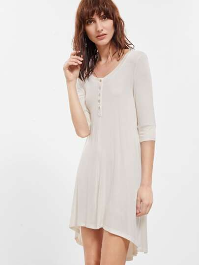 Round Neck High Low Dress