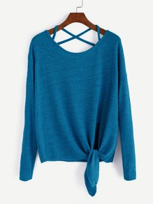 Blue Drop Shoulder Criss Cross Tie Front T-Shirt