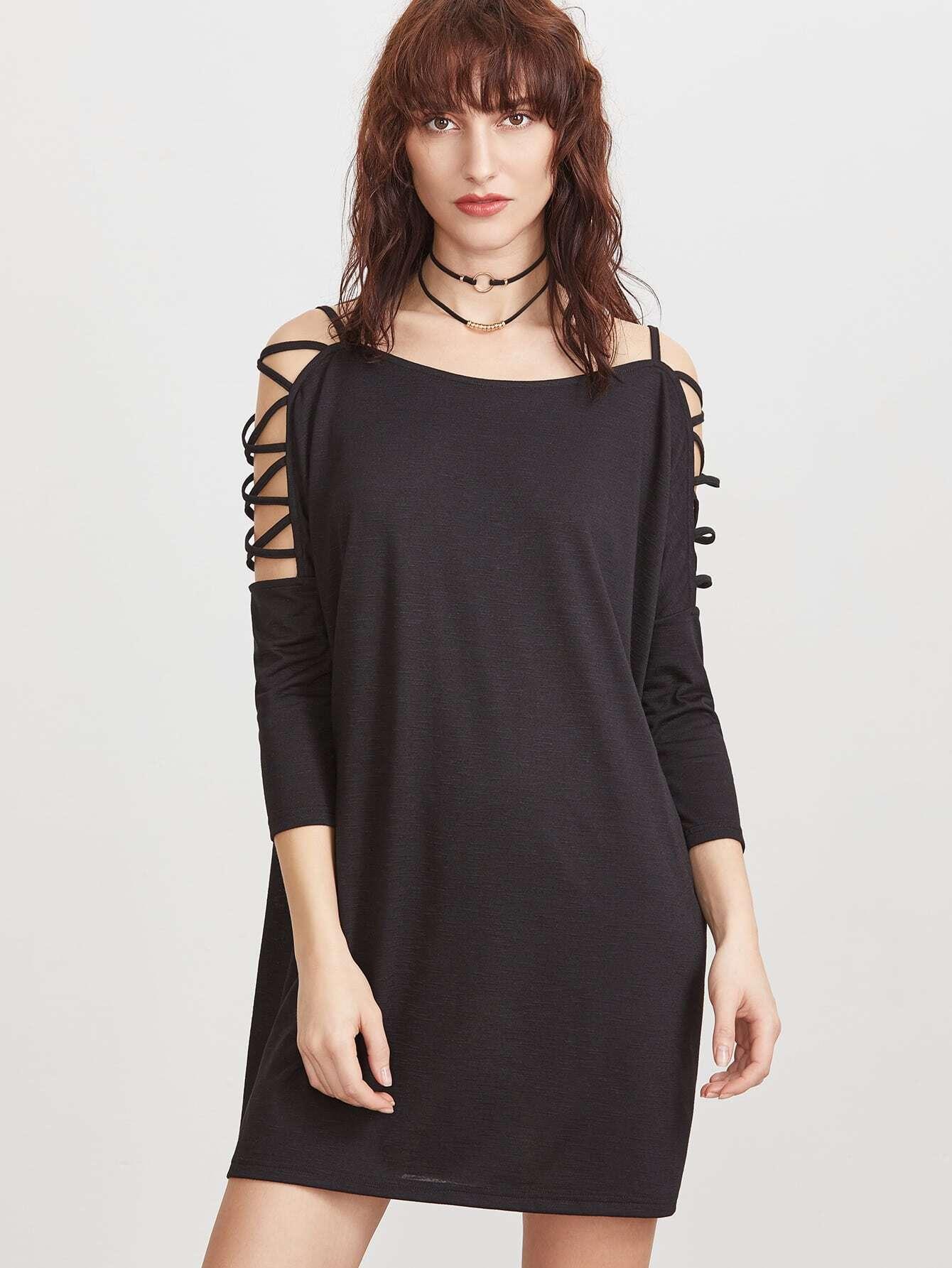 Фото Crisscross Cutout Shoulder Dress. Купить с доставкой