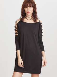 Black Crisscross Cold Shoulder 3/4 Sleeve Dress