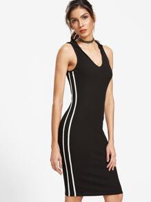 Black Side Striped Sleeveless Hoodie Dress
