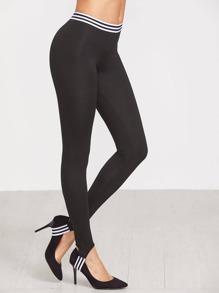Leggings à rayure élancé -noir