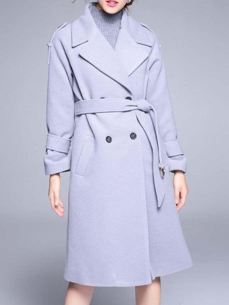 Фото Grey Lapel Tie-Waist Pockets Coat. Купить с доставкой