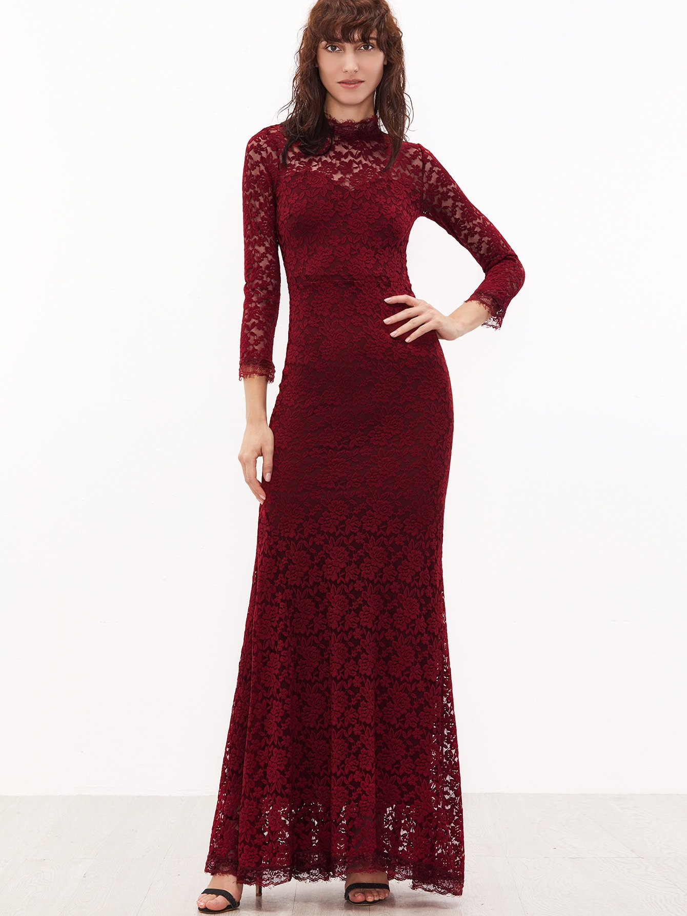 Burgundy Sheer Sleeve Floral Lace Fishtail DressBurgundy Sheer Sleeve Floral Lace Fishtail Dress<br><br>color: Burgundy<br>size: L,M,S,XS
