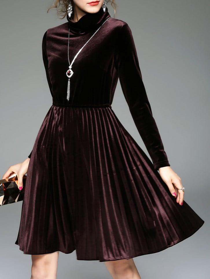 Фото Brown Collar Pleated Velvet Dress. Купить с доставкой