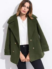 Abrigo con doble botonadura - verde militar