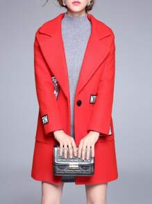 Red Lapel Applique Pouf Pockets Coat