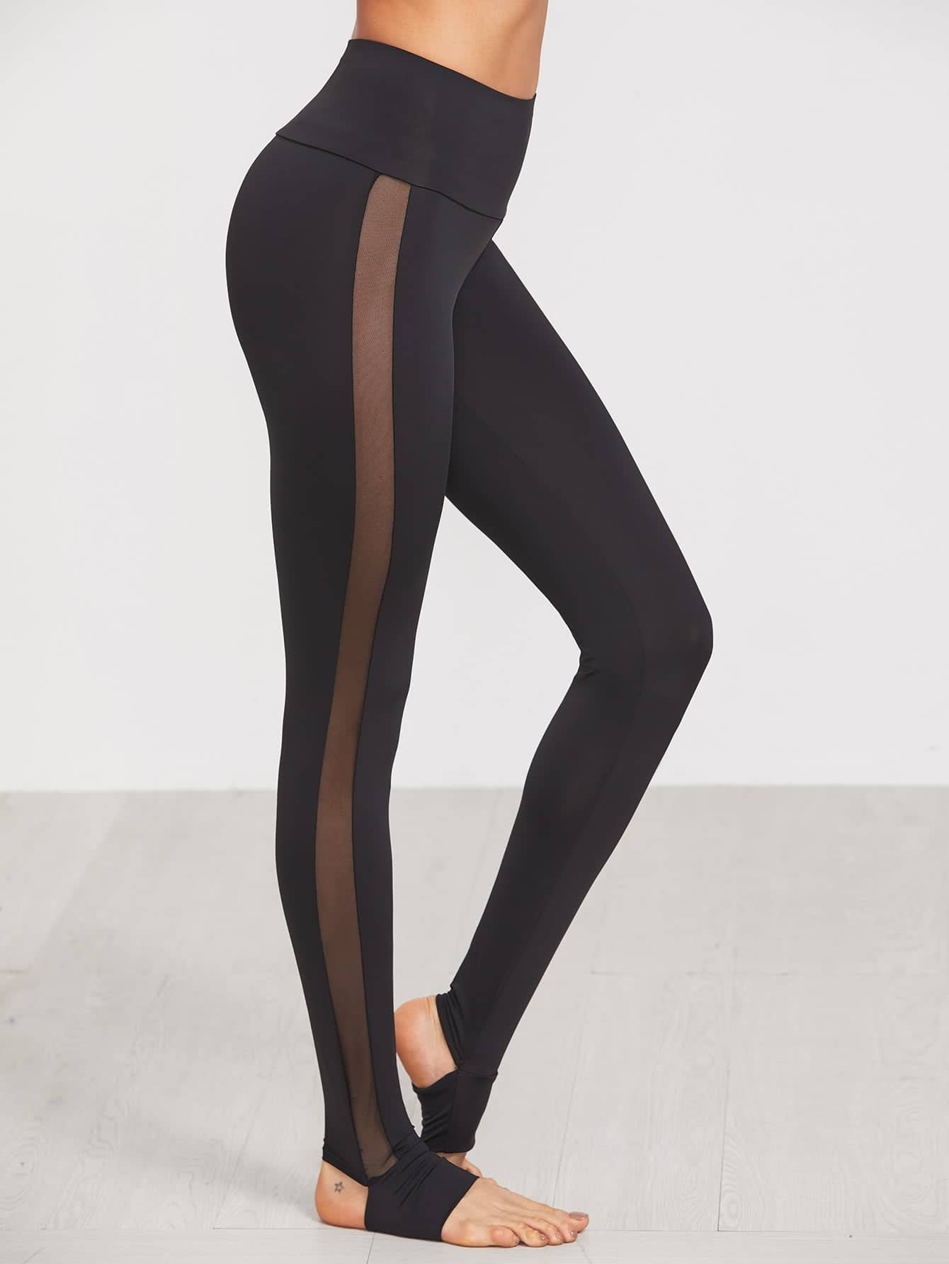 Wide Waistband Mesh Insert Stirrup Leggings knit wide waistband leggings
