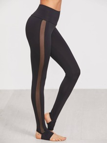 Wide Waistband Mesh Insert Stirrup Leggings
