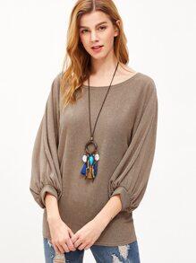 Khaki Lantern Sleeve Loose T-shirt