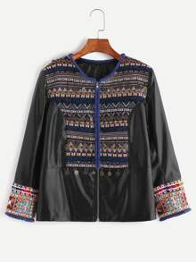Black Faux Leather Jacket With Embroidered Detail