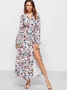 White Floral Print Ruffle Cuff Warp Dress With Self Tie