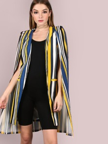 Multi Stripe Cape Coat YELLOW