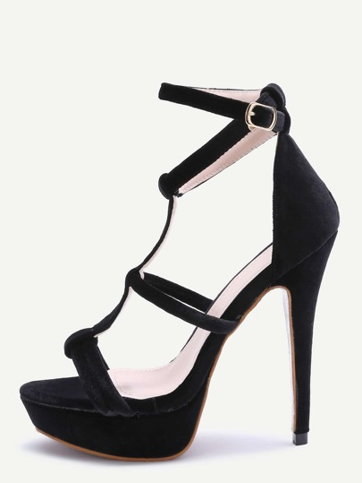 Black Open Toe Strappy Platform Heeled Sandals