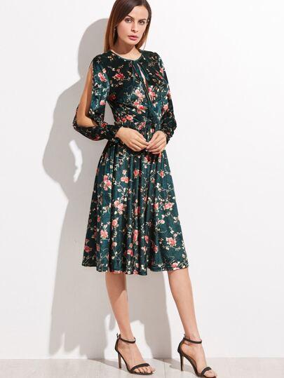 Зелёное модное платье с цветочным принтом рукав с вырезом