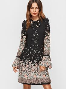 Black Floral Print Tie Neck Bell Sleeve A Line Dress