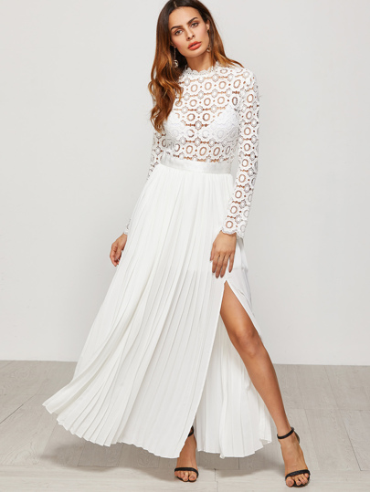 Eyelet Embroidered Lace Top Split Pleated Dress