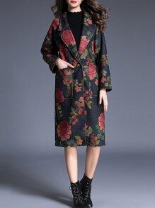 Multicolor Lapel Flowers Print Pockets Coat