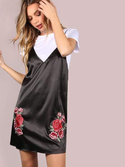 Black Deep V Neck Cami Dress